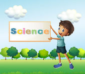 A boy holding a science signage — Stock Vector