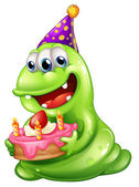 A greenslime monster celebrating a birthday — Stock Vector