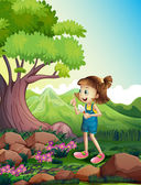 A girl holding a shovel at the forest — Stock Vector