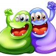 Two happy monsters — Stock Vector