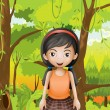 A cute girl at the forest with an orange sando — Stock Vector