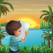 A boy with a paper at the riverbank — Stock Vector