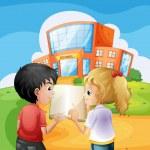 Kids arguing in front of the school building — Stock Vector #31343333