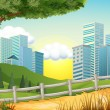 Stock Vector: Hills with tall buildings nearby