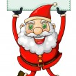 A smiling Santa Claus holding an empty signage — Stock Vector