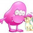 A pink beanie monster with a cat — Imagen vectorial