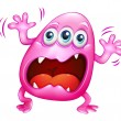 Stock Vector: Pink monster shouting because of frustration