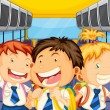 Happy kids inside the schoolbus — Vettoriali Stock
