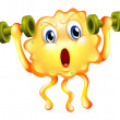 Stock Vector: Cute monster exercising with dumbbells