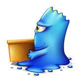 En blå monster flyttar ut — Stockvektor