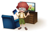 A boy holding a book standing near the blue couch — Stock Vector