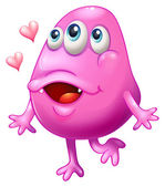 A pink monster with two hearts — Stock Vector