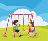 A boy and a girl at the playground — Stockvector