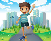 A boy waving while running in the middle of the road — Stock Vector