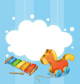 An empty cloud template with a toy horse and a xylophone — Stock Vector