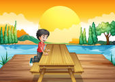 A table with bench near the river — Stock Vector