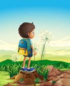 一个男孩与一个背包常设的树桩上面 — 图库矢量图片