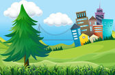 Hills with buildings — Stock Vector