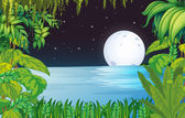 A lake in the forest under the bright fullmoon — Stock Vector