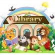 Stock Vector: Animals reading in front of library
