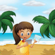 A girl holding pictures at the beach — Stock Vector
