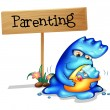 Stock Vector: Parent monster and her child
