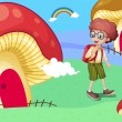 Stock Vector: A boy near the giant mushroom houses