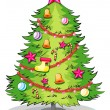 Stock Vector: A big christmas tree with many decorations