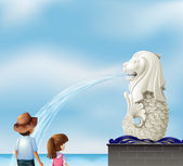 Two kids near the statue of Merlion — Stock Vector