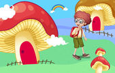 A boy near the giant mushroom houses — Stock Vector