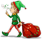A young elf dragging a sack of gifts — Stock Vector