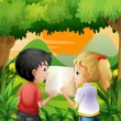 Kids discussing with a book at the forest — Stock Vector