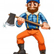 A lumberjack stepping on a stump — Imagen vectorial