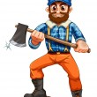 Stock Vector: Lumberjack stepping on stump