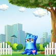 A blue monster standing near the fence across the tall buildings — Stock Vector