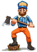 A lumberjack stepping on a stump — Stock Vector