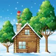 A wooden house with an elf at the top — Imagens vectoriais em stock