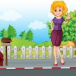 A woman at the street near the wooden mailbox — Stock Vector