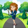 Stock Vector: Businesswomstanding in middle of street