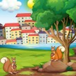 Two squirrels at the riverbank across the village — Stock Vector #32055507