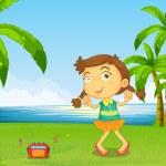 A cute little girl dancing near the river — Stock Vector #32055641