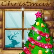 A christmas tree near the window — Vettoriali Stock