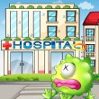 A sick monster in front of the hospital — Stock Vector