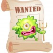 A wanted monster — Stock Vector