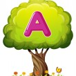 Stock Vector: Tree with letter A