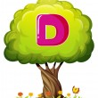 A tree with a letter D — Stock Vector