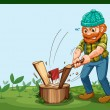 A lumberjack chopping the wood — Imagen vectorial