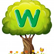 A tree with a letter W — Stock Vector