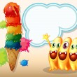 Three happy beanie monsters near the giant icecream — Imagens vectoriais em stock