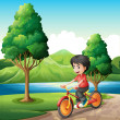 Boy biking at riverbank — Stock Vector #32057445